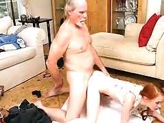 Red Hair Teen Dolly Little Doggystyle And Facial From Old Tramp