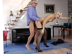 Doggystyled euro pet loving venerable mans cock