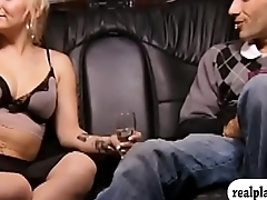Busty blonde women have fun and pompous casino with dudes