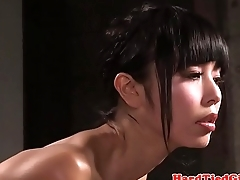 Japanese subslut gets her tits bound respecting tight
