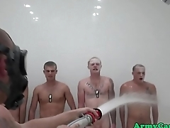 Military twunk cumdrenched during shower orgy
