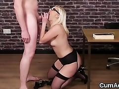 Naughty idol gets jizz load on her face sucking all the love juice