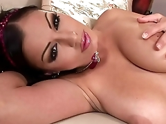Aria Giovanni strips out of Lingerie increased by plays with Her 34DD Boobs