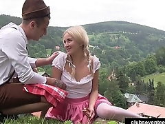 Pigtailed teen gets nailed outdoors