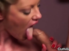 Hot idol gets cumshot on her face gulping all the juice