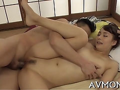 Taut asian old lady pleasures herself