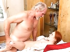 Redhaired Teen Dolly Littles Pussy Swallows Up Old Mans Dick