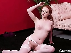 Naughty sex kitten gets jizz load on her face swallowing all the jism