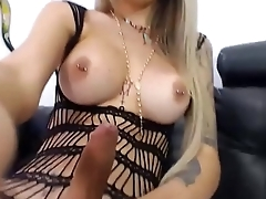 Sexy Blonde Shemale With Glasses Wanks on Cam