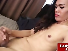 Ladyboy jerking the brush flesh during solo session
