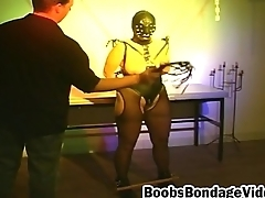 Lovemaking slave in hole up mask gets humble tits tied and her making enchained