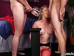 Spicy honey gets cumshot on her face gulping all the semen