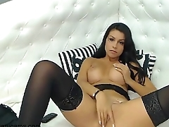 Brunette with stockings on vanicams.com