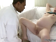 Heavily pregnant brunette fucked away from a black guy