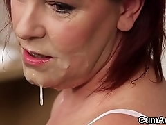 Wicked looker gets jizz shot on her face swallowing in all directions from the love juice
