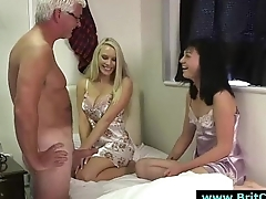 Lascivious British girls in lingerie suck older CFNM guys cock