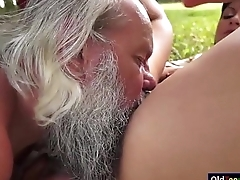 Naomi sucking off grandpas immutable cock outside and rides on it
