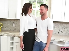 Chap-fallen brunette mommy Helena Price seduces and fucks younger stud