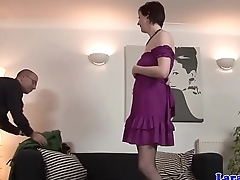 Milf in stockings pussyfucked on the floor