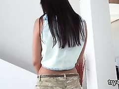 Cute teenie blows dick in pov and gets spread vulva penetrated