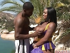 Bigbooty ebony cheerleader pounded with BBC