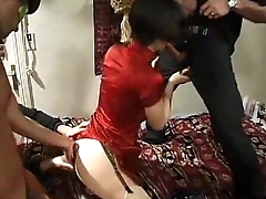 TAN NYLON PANTYHOSE STOCKINGS ASIAN SUCKING DICK IN RED DRESS