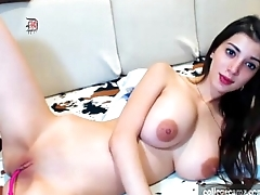 extremely cute long haired brunette babe with big natural tits plays on collegecamz.com