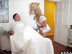 Nurse deepthroats and fucks her patients oustandingly cock