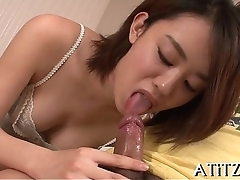 Lovely tits oriental charms with blowjob