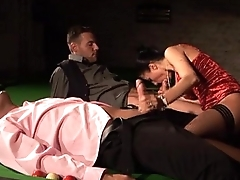 Sofia Cucci in black stockings fucked on the billiard table