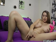 Busty Teen Kimber Lee cums with New Vibrator.