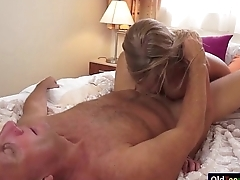 Busty Lolly Gartner titfucks and sucking withdraw a grandpas cock