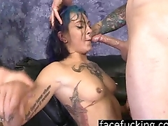 Alt Floozy Orion Starr Throated By Two Dicks