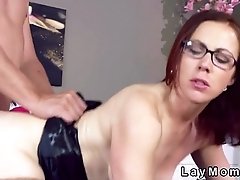 Redhead mature lady with glasses banging in bed