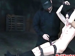 Restrained submissive milf clit stimulated