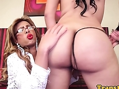 Gorgeous trannies buttfucking after handjobs