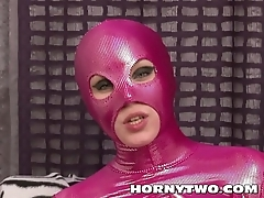 Halloween plus fetish bitch in all directions pink latex catsuit