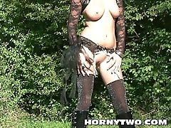 Horny Halloween gothic solo blonde posing in fine lingerie