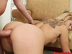 Inked smalltitted babe takes cock up their way ass