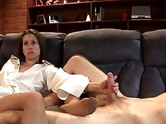 Sister doing footjob added to handjob for the brush brother in pantyhose