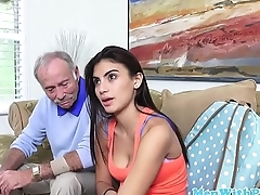 Slutty schoolgirl cocksucking old men