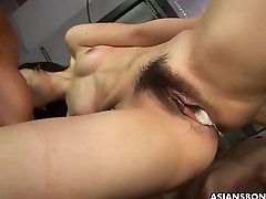 Humiliated Asian babe getting fucked by the two hunks