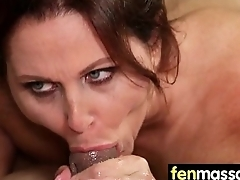 Sexy babe is massaged and fucked by her masseur 20